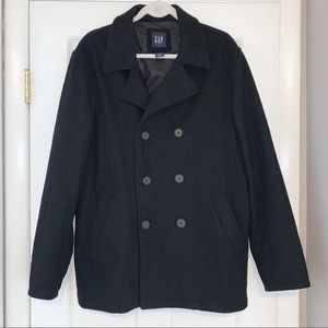Men's Gap black wool double breasted pea coat